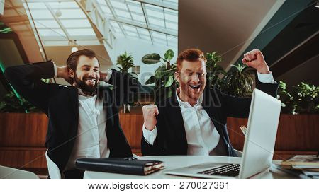 Business People. Happy Office Managers. Workers In Suit. Time Management. Work With Laptop. Office I
