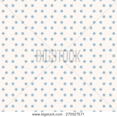 Vector Snowflakes Seamless Pattern. Abstract Minimalist Light Blue And White Texture With Small Geom
