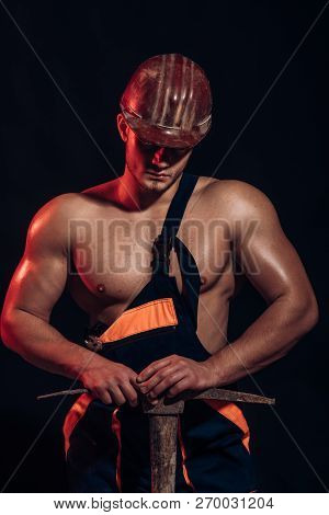Mining Area Under Construction. Man Miner With Mining Equipment. Muscular Man Worker. Hard Worker Wi
