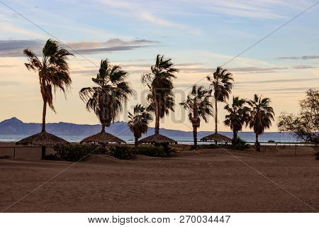 Photo Of A Beach In Loreto, Mexico At Sunset.