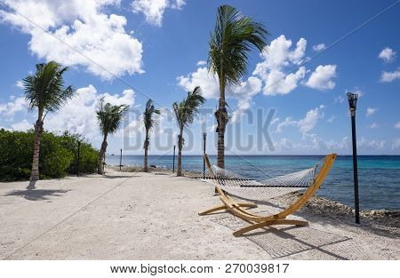 Picturesque Renaissance Islands Of Aruba With Hammock And Swaying Palm Trees