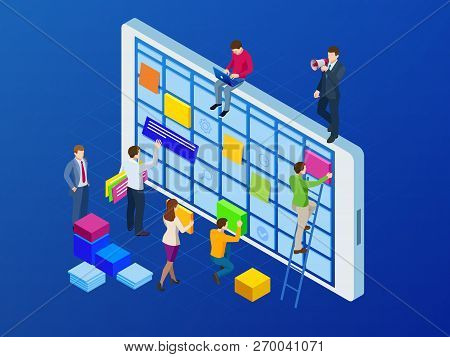 Isometric Online Weekly Schedule And Calendar Planner Organization Management On Smartphone Or Table