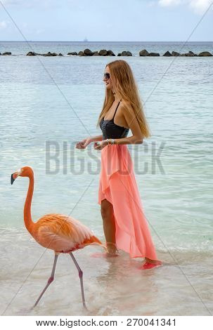 Renaissance Islands, Aruba - November 5, 2018: Young Woman With Long Blond Hair In Black Bikini Feed