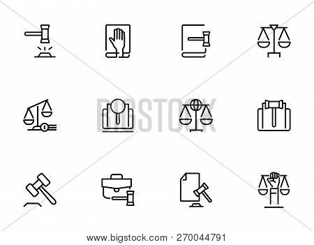 Law And Justice Line Icons. Set Of Line Icons On White Background. Law Concept. Gavel, Rule, Courtro