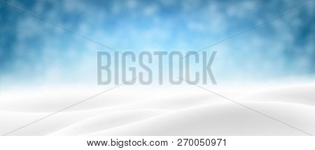 Blue Banner With Winter Landscape And Snow For Seasonal, Christm