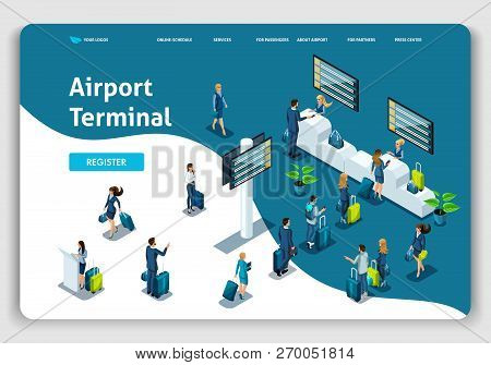 Website Template Landing Page Isometric Concept International Airport, Airport Terminal, Baggage Rec