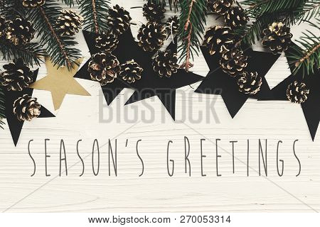 Season's Greetings Text On Modern Christmas Flat Lay With Green Fir Branches, Golden Pine Cones And