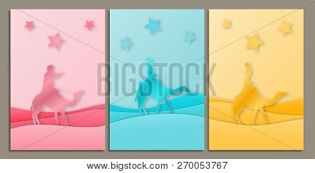 Christmas Time. Three Kings In Paper Cut Style Design In Three Pastel Colors. Modern Design.