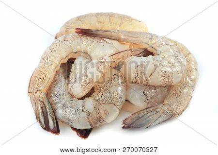 Fresh Shrimp Isolated / Pile Of Raw Prawns Fresh Shrimp Peeled On White Background - Shrimp Cocktail