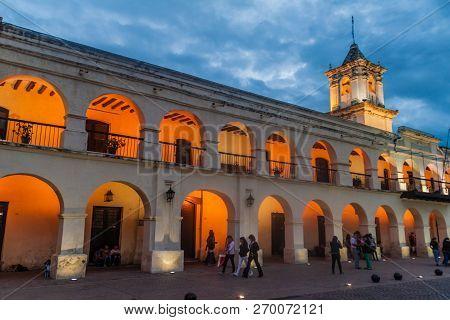 Salta, Argentina - April 8, 2015: Building Of The Former Town Council Cabildo On Plaza 9 De Julio Sq