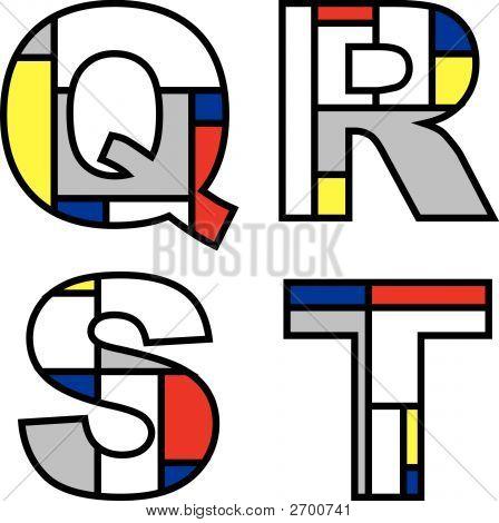 Mondrian Alphabets Qrst (Vector)