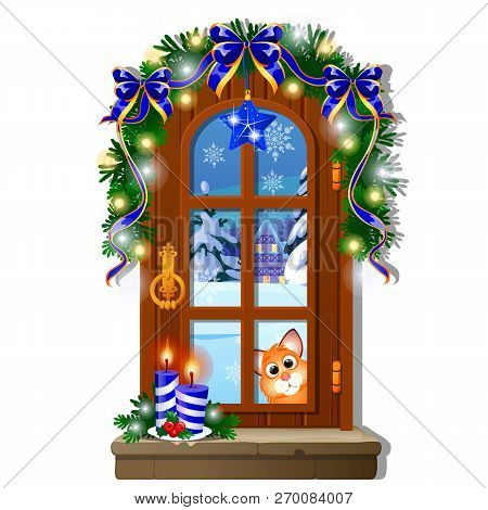 Cozy Interior Home Window. Evening View From Window Of Outdoor Winter Snow Isolated On White Backgro