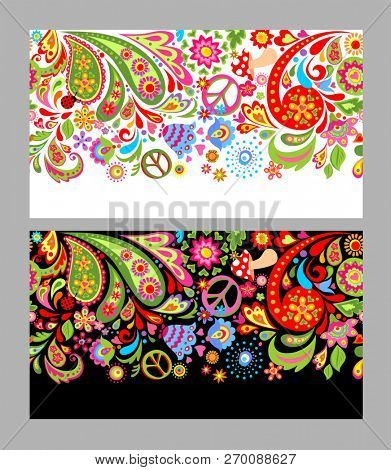 Seamless flowers colorful border with hippie peace symbol, fly agaric and paisley