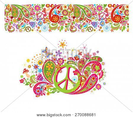 Shirt print with hippie peace symbol with colorful flowers, fly agaric, paisley and seamless pattern