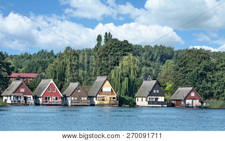 Traditional Cottages In Mueritz National Park In Mecklenburg Lake District,mecklenburg Western Pomer