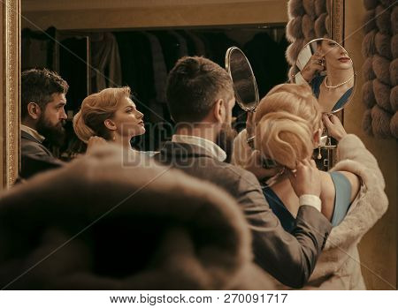 Couple In Love On Romantic Date, Relationship. Date, Couple, Love, Man, Woman. Sensual Woman In Fur,