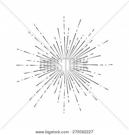 Light Rays, Sunburst And Rays Of Sun. Firework Icon. Design Elements, Linear Drawing, Vintage Hipste