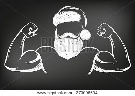 Santa Claus Strongman, Sport, Christmas Symbol Hand Drawn Vector Illustration Sketch Drawn In Chalk