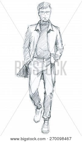 Young Man In Casual Clothes. Comes With Coffee In Hand