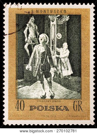Luga, Russia - January 31, 2018: A Stamp Printed By Poland Shows Scene From Polish Composer Stanisla