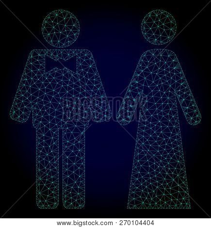Mesh Just Married Persons Polygonal Illustration. Abstract Mesh Lines, Triangles And Points On Dark