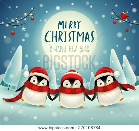 Cute Little Penguins Under The Moonlight In Christmas Snow Scene Winter Landscape. Christmas Cute An