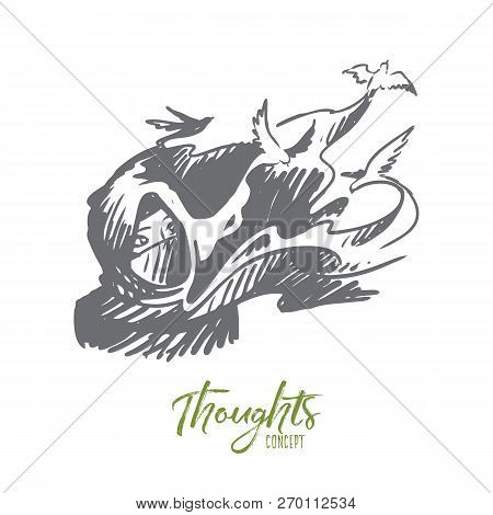 Experiences, Thoughts, Hijab, Idea, Islam Concept. Hand Drawn Woman In Hijab Thinking. Birds As Symb