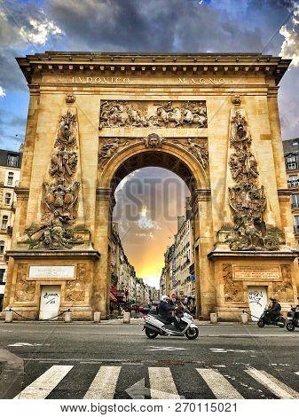 Paris, France - March 9, 2017: The Porte Saint-denis, Built In 1672, Designed By Architect Francois