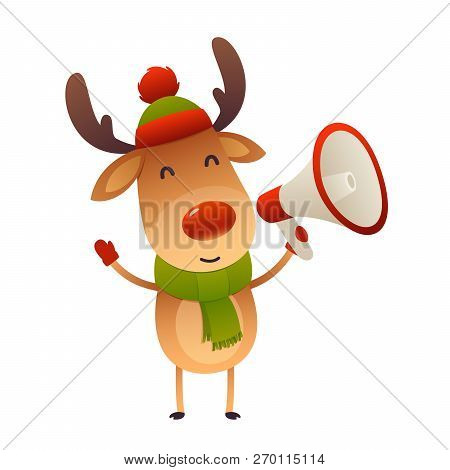 Cute Cartoon Reindeer With Megaphone On White Background Isolated