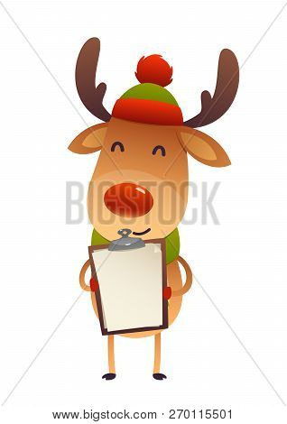 100b1e104946b Christmas Cute Reindeer Standing Behind Blank Signboard Advertisement Banner  With Copy Space Vector