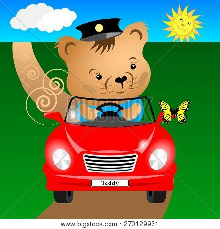 Cartoon Teddy Bear In The Car Rides On The Road And Sees A Butterfly Sat On The Mirror. Vector Illus