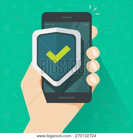 Mobile Phone Security Protection Vector Illustration, Flat Cartoon Smartphone Protected With Shield