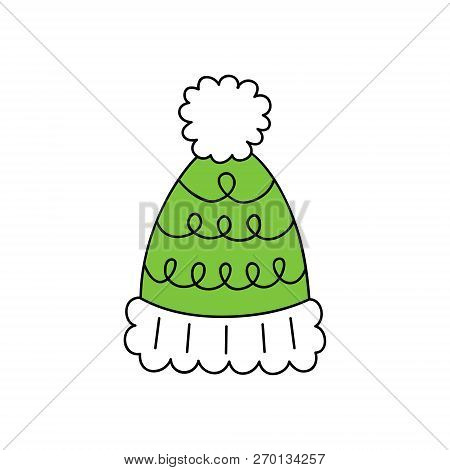 Cute Bobble Hat Vector Outlined Illustration Icon. Winter, Christmas, Seasonal, Knitted Green Hat Wi