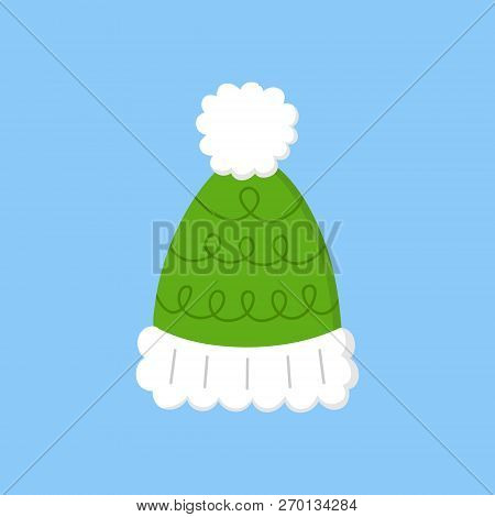 Cute Bobble Hat Vector Illustration Icon. Winter, Christmas, Seasonal, Knitted Green Hat With White