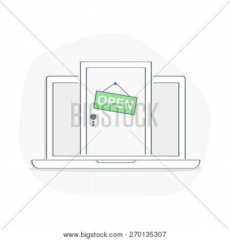 Laptop With Open Door On Display, Login To The Account, Entrance To The Online Store, Internet Acces