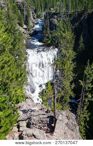 Kepler Cascades Is A Waterfall On The Firehole River In Southwestern Yellowstone National Park, Usa.
