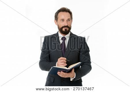 Businessman Planning Business Schedule With Notepad. Time Management And Organizing Skill. Man Beard