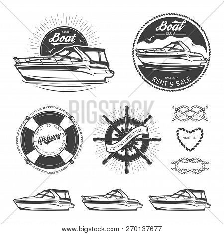 Set Of Vintage Nautical Logos, Labels, Emblems And Design Elements. Vector Illustration, Isolated On