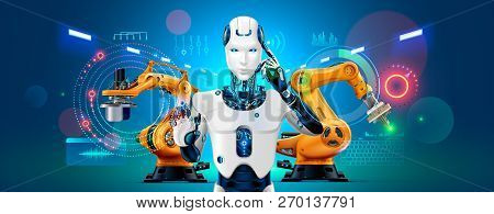Industry 4.0 Concept Banner. Robot With Ai Control Production Line On Smart Factory. Cybernetic Arti