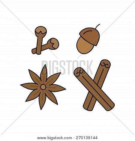 Spice, Seasoning Vector Outlined Illustration Icon Set. Autumn, Winter, Christmas, Holiday, Seasonal