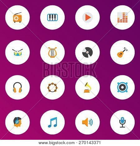 Audio Icons Flat Style Set With Fm, Begin, Earpiece And Other Pianoforte Elements. Isolated Vector I