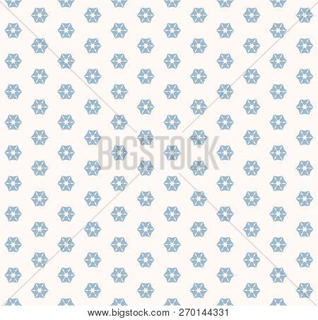Vector Geometric Snowflakes Seamless Pattern. Abstract White And Blue Texture With Small Floral Shap