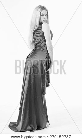Woman Wears Elegant Evening Red Dress, White Background. Luxury Outfit Concept. Lady Wears Fashionab