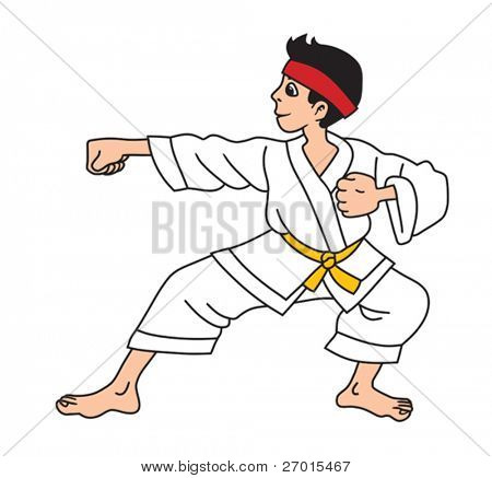 Man is practicing karate exercise cartoon vector illustration
