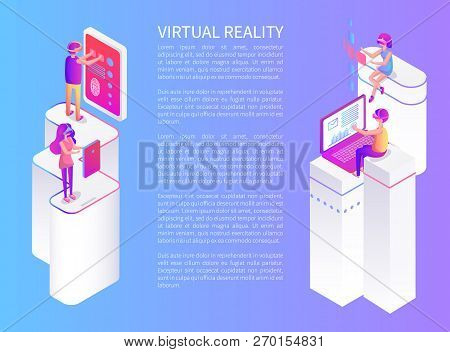 Virtual Reality, Interactive Poster With Man And Big Touch Screen With Prints. Woman And Vr Goggles,