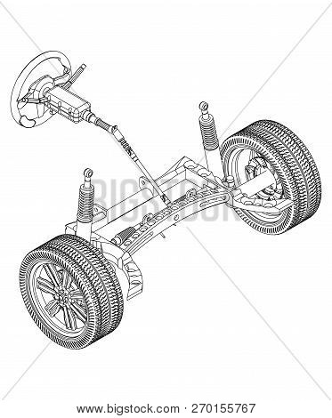 3d Model Of Steering Column And Car Suspension On White Background