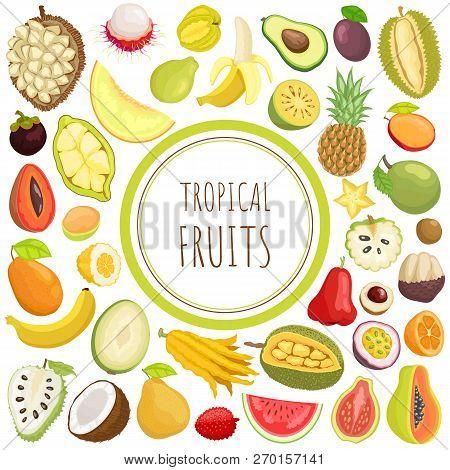 Tropical Fruits Card With Exotic Meal Vector. Marang And Pineapple, Citron And Sugar Apple, Carambol