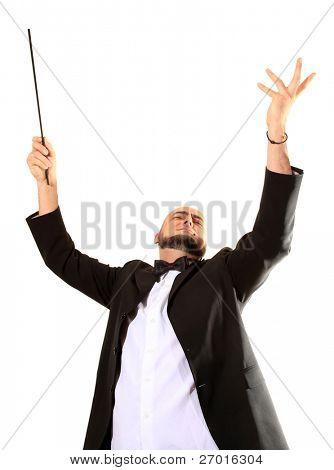 Conductor maestro conducts crescendo