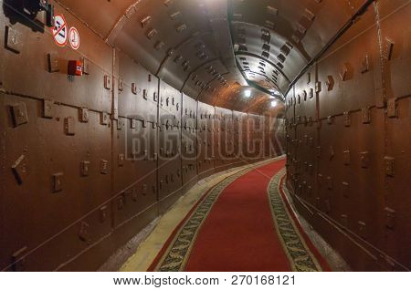 Moscow, Russia - October 25, 2017: Tunnel at Bunker-42, anti-nuclear underground facility built in 1956 as command post of strategic nuclear forces of Soviet Union. poster