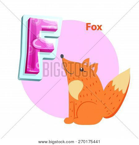 Fox Animal For F Letter Abecedarian Demonstration. Zoo Children Acrophony With Cartoonish Gleeful Fo